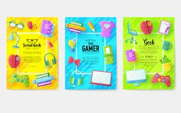 It geeks vector brochure cards set. office professional developer template of flyear, magazines, posters, book cover. Banners. Layout workplace technology flat stock illustration