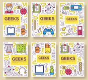 It geeks vector brochure cards thin line set. office professional developer template of flyear, magazines, posters, book. Cover, banners. Layout workplace vector illustration