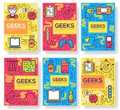 It geeks vector brochure cards thin line set. office professional developer template of flyear, magazines, posters, book royalty free illustration