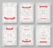 It geeks vector brochure cards thin line set. office professional developer template of flyear, magazines, posters, book. Cover, banners. Layout workplace stock illustration