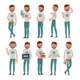 Geekvector Mens De geïsoleerde Vlakke Illustratie van het Beeldverhaalkarakter stock illustratie