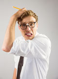 Geeky businessman looking stressed out Royalty Free Stock Images