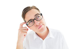 Geeky businessman scratching his head Stock Photos