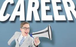 Geeky businessman shouting through megaphone Royalty Free Stock Image