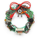 Geeky christmas wreath made by old computer parts. On white background Stock Photography
