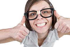 Geeky Female with Double Thumbs Up Stock Photo