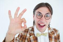 Geeky Hippie, der das okayzeichen tut Lizenzfreies Stockbild
