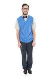 Geeky hipster που φορά τη φανέλλα πουλόβερ Στοκ φωτογραφίες με δικαίωμα ελεύθερης χρήσης