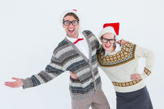 Geeky hipster couple having fun Stock Image