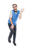 Geeky hipster dancing like a fool. On white background Stock Image