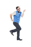 Geeky hipster dancing and smiling Royalty Free Stock Images