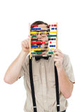 Geeky hipster holding an abacus Royalty Free Stock Photos