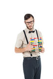 Geeky hipster holding an abacus Stock Images