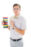 Geeky hipster holding an abacus Stock Image