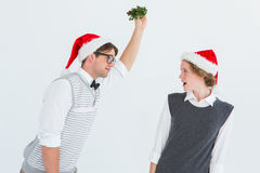 Geeky hipster holding mistletoe Stock Photography