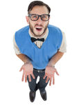 Geeky hipster looking confused at camera Stock Photos