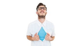 Geeky hipster opening shirt superhero style Stock Images