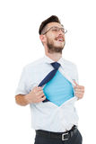 Geeky hipster opening shirt superhero style Royalty Free Stock Images