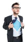 Geeky hipster opening shirt superhero style Royalty Free Stock Photography