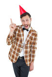 Geeky hipster in party hat Stock Photo