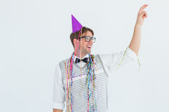 Geeky hipster pointing something Royalty Free Stock Photos