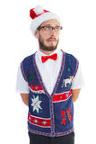 Geeky hipster in santa hat Stock Photos