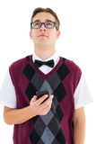 Geeky hipster sending a text Stock Images