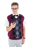 Geeky hipster sending a text Royalty Free Stock Image