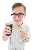 Geeky hipster speaking into dictaphone Royalty Free Stock Photography
