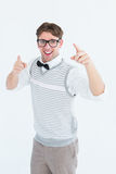 Geeky hipster in sweater vest dancing Stock Photos
