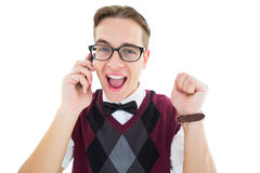 Geeky hipster talking on the phone Stock Photography