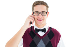 Geeky hipster talking on the phone Royalty Free Stock Images