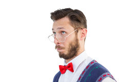 Geeky hipster wearing christmas vest Royalty Free Stock Photography