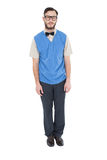 Geeky hipster wearing sweater vest Royalty Free Stock Photos