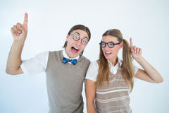 Geeky hipsters pointing Royalty Free Stock Photo