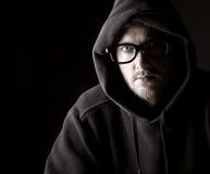 geeky hooded manlig Arkivfoto