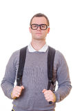 Geeky man with backpack Royalty Free Stock Image