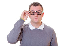 Geeky man portrait Stock Photo