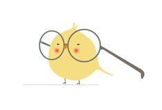 Geeky och roligt fågeltecken för livlig tecknad film med enorma exponeringsglas i den isolerade Minimalistlägenhetvektorn stock illustrationer