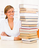 Geeky student at the library Stock Photo