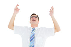 Geeky szczęśliwy biznesmen z rękami up Fotografia Stock
