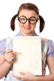 Geeky teenage girl with notepad Royalty Free Stock Image