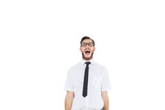 Geeky young businessman shouting loudly Stock Images