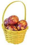 Geel Bakje met Bos van Kleurrijke Rode Geverfte die Paaseieren met de Afdrukken worden verfraaid van Onkruidbladeren op Witte Ach stock foto
