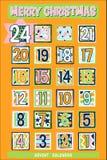 Geel Beeldverhaal Advent Calendar Royalty-vrije Stock Afbeeldingen