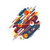 Geel, blauw, Bourgondië en sinaasappel Stroken, ovalen, lijnen en cirkels met een samenstelling van diverse ronde vormen in een e Stock Fotografie