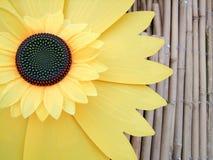 Geel bloem en hout stock afbeelding