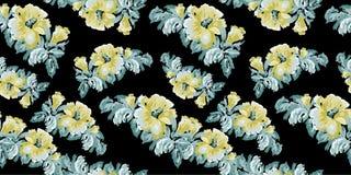 Geel bloemen uitstekend patroon op zwarte achtergrond Stock Afbeelding
