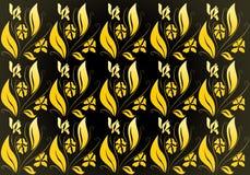 Geel bloemenbehang Stock Afbeeldingen