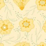 Geel bloemenkrabbel eindeloos patroon vector illustratie